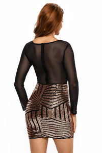 Long Sleeves Mesh Shadow Sequin Bottom Dress