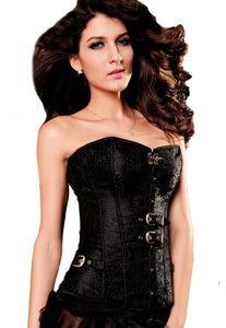 Luxurious Pteris Jacquard Corset Black