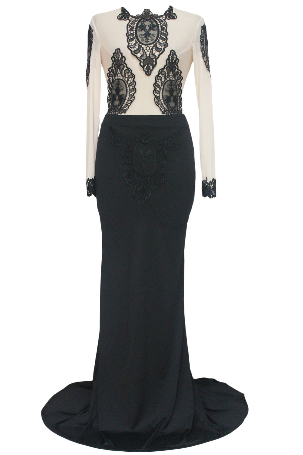 Marvelous Floral Lace Embroidery Tattoo Fishtail Party Gown