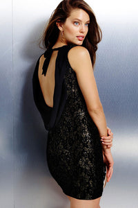 Metallic Floral Lace Sexy Backless Party Club Dress