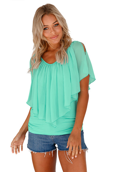 Mint Green Cold Shoulder Flutter Top