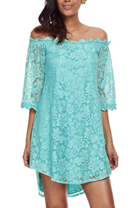 Sexy Mint Off The Shoulder 3/4 Sleeve Floral Lace Dress