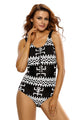 Monochrome Bikini Romper Zipped One Piece Bathing