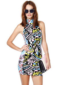 Multicolored Print Bandage Dress with Cut out