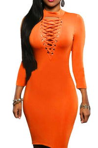 Mustard Grommet Lace Up Front Sleeved Bodycon Dress