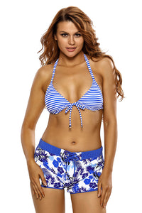 Nautical Stripes Halter Bikini Floral Boardshort Swimsuit