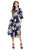 Sexy Navy Blue 3/4 Bell Sleeve Floral Midi Dress