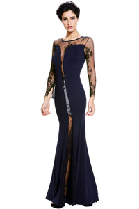 Navy Blue Long Sleeves Lace Insert Party Gown