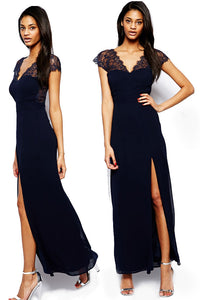 Navy Eyelash Lace Splicing Chiffon Evening Dress