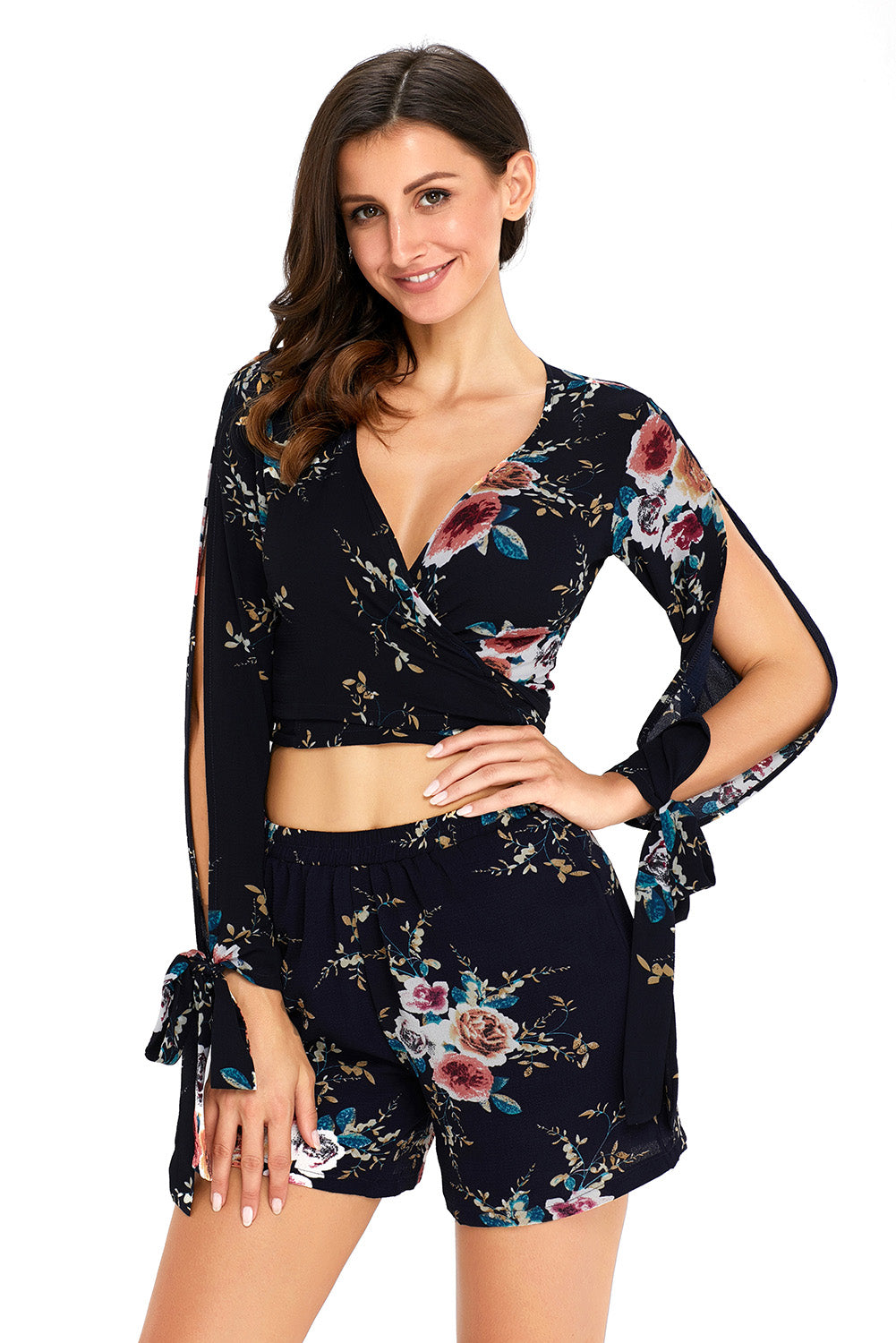9b568632978f Sexy Navy Floral Print Split Sleeves Crop Top and Short Set – SEXY ...