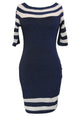 Navy Nude Patchwork Club Dress
