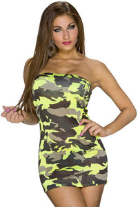 Neon Yellow Camourflage Bandeau Club Mini Dress