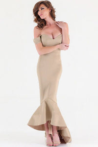 Nude Off-shoulder Mermaid Jersey Evening Dress