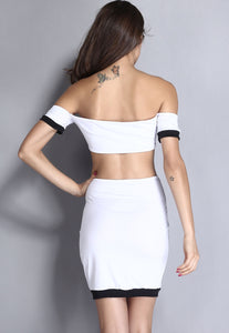Off-shoulder Black White Midi Dress with Cut-out