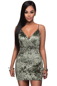 Olive Green Wrap V Neck Ruched Velvet Club Dress
