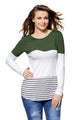 Olive White Color Block Striped Long Sleeve Blouse Top