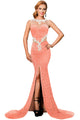 Orange Lace Glamour Split Maxi Party Dress