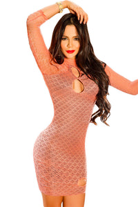 Orange Lined High Neck Patterned Bodycon Dress with Keyholes
