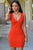 Orange Womens V Neck Sexy Loaded Dress