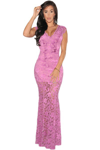 Orchid Lace Nude Illusion Low Back Evening Dress