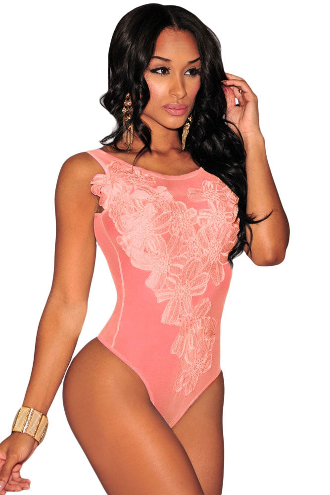 485d2b2692 Sexy Peach Floral Embroidered Sheer Mesh Bodysuit – SEXY AFFORDABLE ...