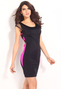 Pink Black Mesh Lattice Strap Back Bodycon Dress