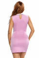 Pink Contrasting Collared Bodycon Dress