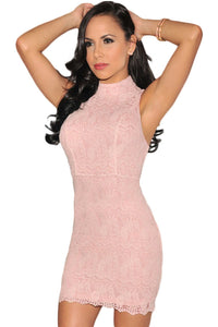 Pink Crochet Cut-Out Back Bodycon Dress