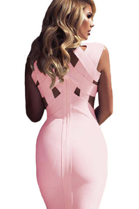 Pink Cutout Midi Bandage Dress