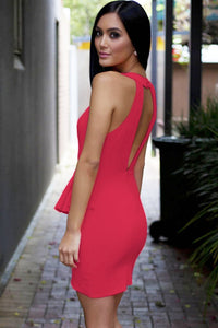 Pink Deep V Neckline Front Draped Club Dress