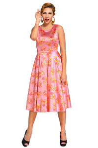 Pink Digital Floral Vintage Swing Dress