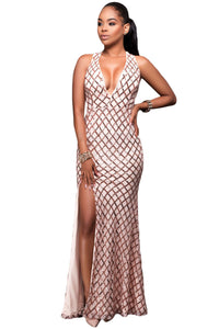 Pink Gold Diamond Sequins Key-hole Back Slit Gown