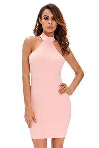 Pink Lace up Back Halter Dress
