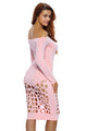 Pink Long Sleeve Off Shoulder Hollow Out Bodysuit Dress