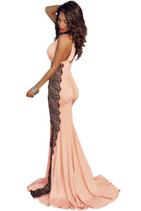 Pink Peekaboo Halterneck Lace Trim Party Gown