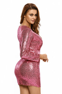 Pink Ruched Sequin Long Sleeve Nightclub Dress