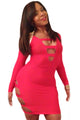 Pink Sexy Cut-Out Long Sleeves Party Bodycon Dress