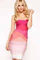 Pink Strapless Ombre Bandage Dress