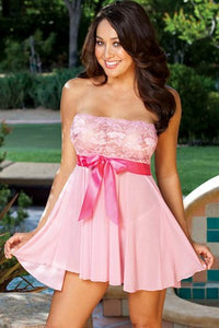 Pink Tie Front Babydoll