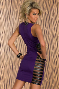 Purple Club Tank Bodycon Dress with Side Striped Mesh