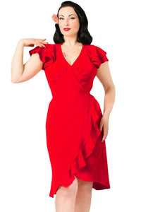 Red 50s Flutter Sleeves Wrap Ruffled Vintage Dress