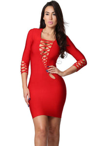 Red Asymmetric Cut out Lace up Long Sleeve Bandage Dress