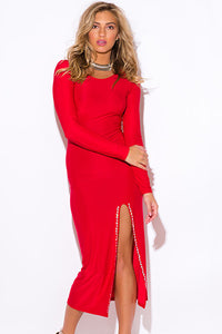 Red Bejeweled High Slit Long Sleeve Party Maxi Dress