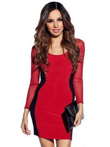 Red Black Hourglass Mesh Long Sleeves Bodycon Dress