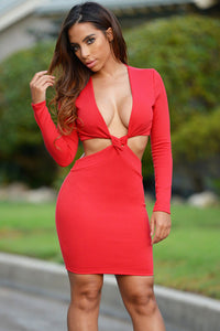 Red Cut Out Twisted Front Long Sleeve Club Dress