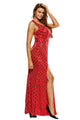Red Gold Diamond Sequins Key-hole Back Slit Gown