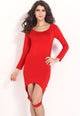 Red Hollow-out Front Hem Sexy Bodycon Dress