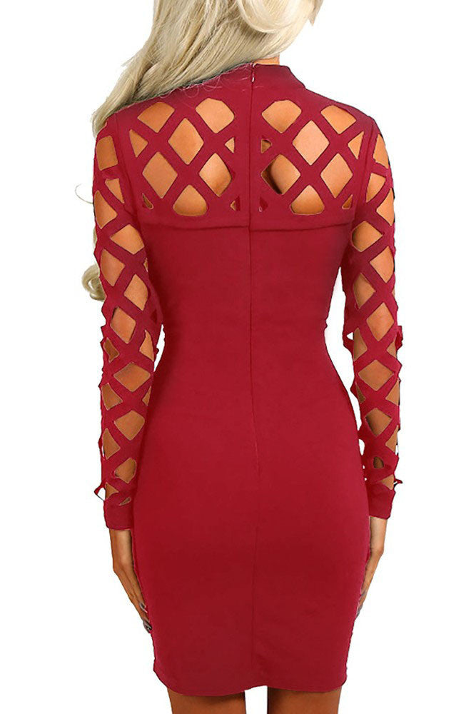 ed82df8fdd9 Red Hollow-out Long Sleeve Mock Neck Bodycon Dress ...