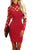 Red Hollow-out Long Sleeve Mock Neck Bodycon Dress