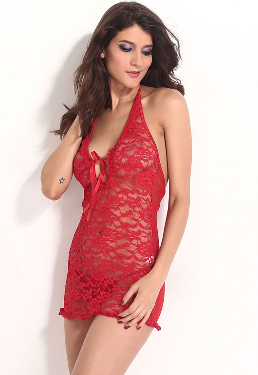 Red Hot Sexy Sheer Lace Chemise with Thong